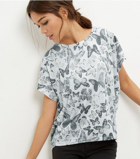 White Butterfly Print Cocoon T-Shirt  | New Look