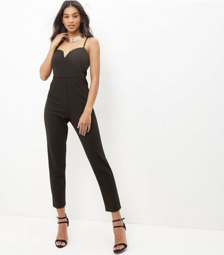 Black Notch Neck Jumpsuit  | New Look
