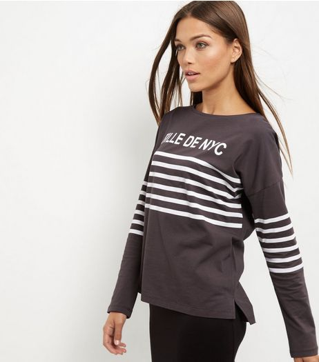 Dark Grey Fille De NYC Stripe T-Shirt  | New Look