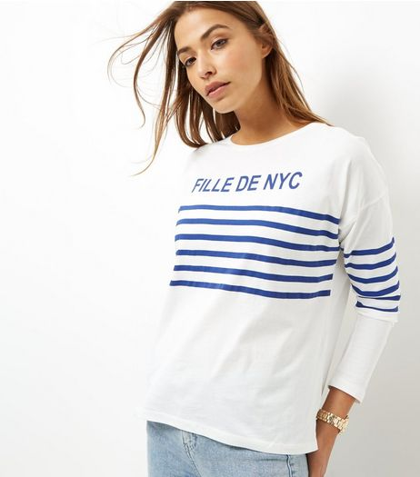 Navy Stripe Fille De NYC Long Sleeve Top | New Look