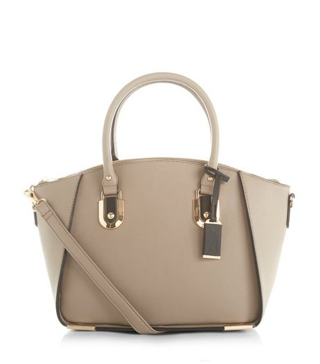 Mink Structured Tote Bag  | New Look