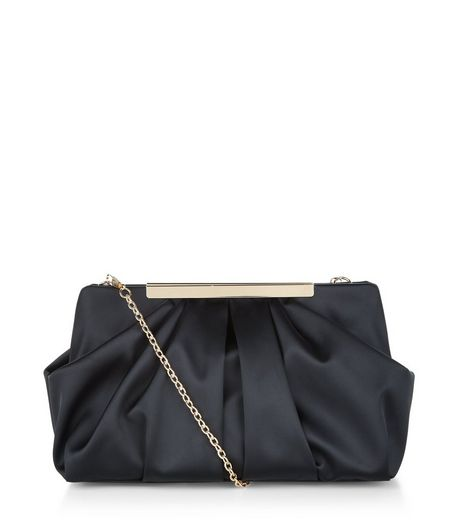 Black Satin Ruffled Clutch | New Look