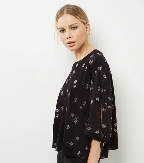 Black Floral Print Tie Sleeve Glitter T-Shirt  | New Look