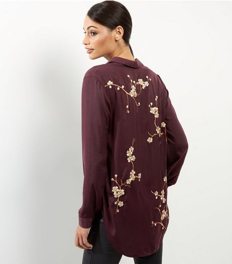 Purple Blossom Embroidered Longline Shirt | New Look