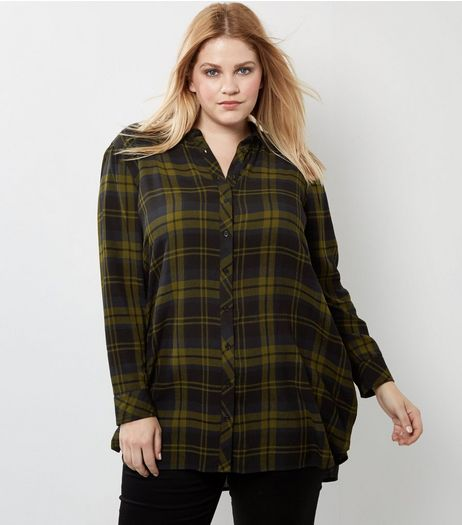 Curves Green Check Long Sleeve Shirt  | New Look