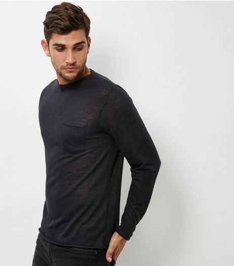 Black Long Sleeve Slouch T-Shirt | New Look