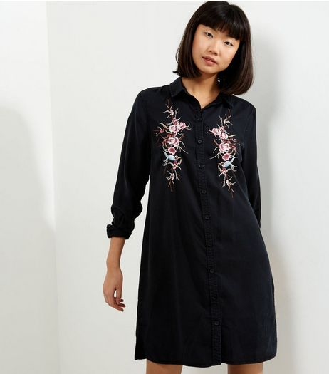 Black Floral Embroidered Long Sleeve Shirt Dress | New Look