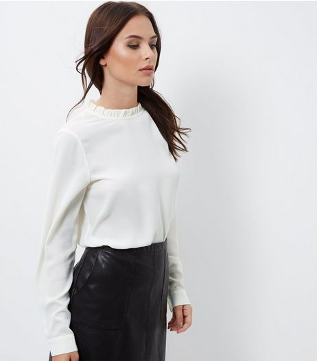 Cream Ruffle Trim Long Sleeve Top | New Look