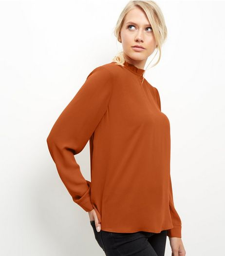 Brown Ruffle Trim Long Sleeve Top | New Look