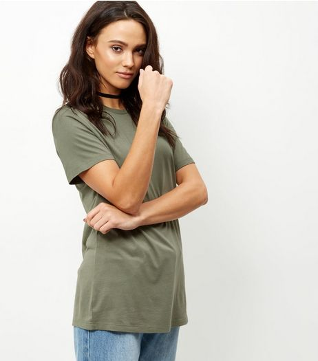 Olive Green Boyfriend T-Shirt  | New Look