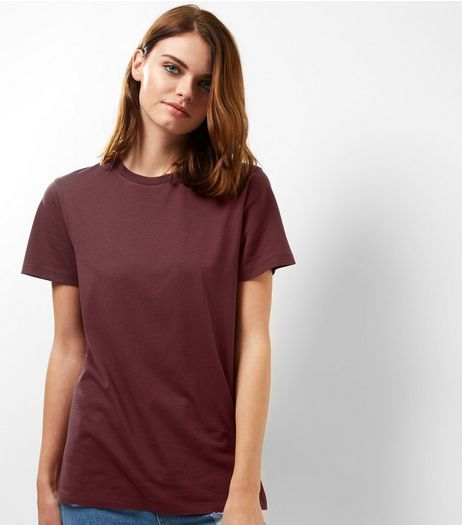 Burgundy Boyfriend T-Shirt  | New Look
