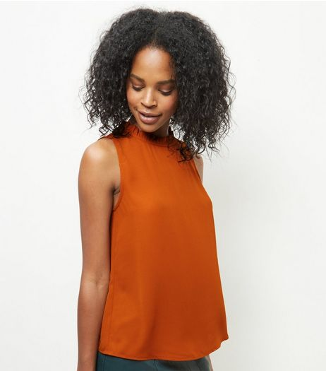 Rust Frill Trim Sleeveless Blouse  | New Look