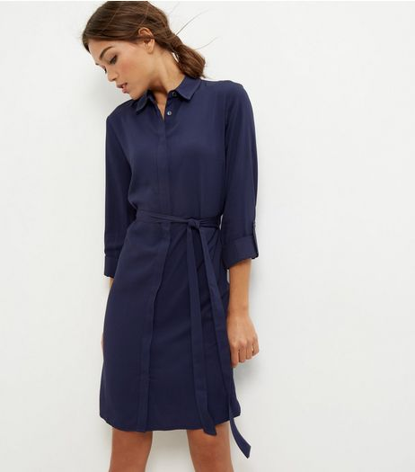Navy Tie Waist Shirt Dress | New Look