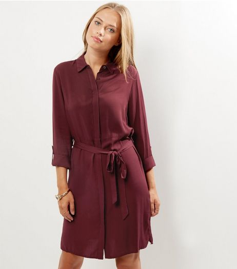 Burgundy Long Sleeve Belted Shirt Dress | New Look