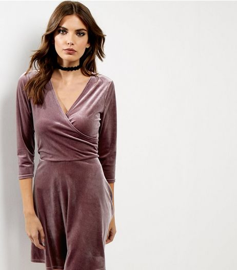 Mid Pink Velvet Wrap Front Dress | New Look