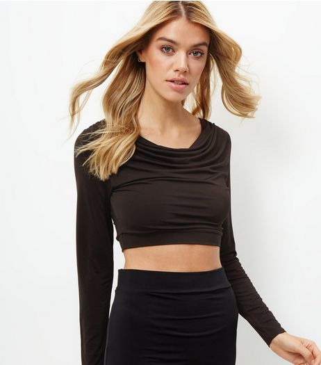 Black Cowl Neck Long Sleeve Crop Top | New Look