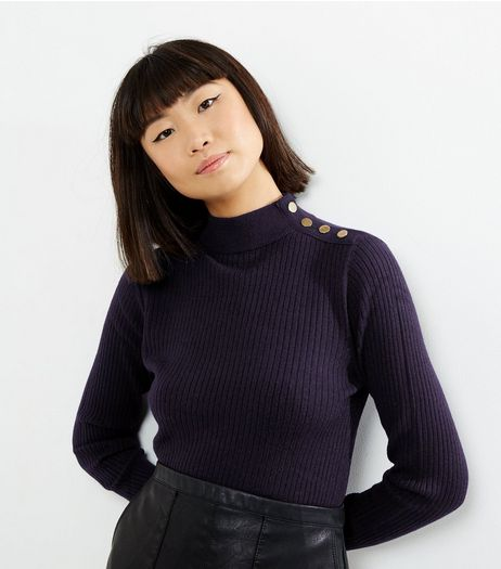 Navy Ribbed Button Trim Funnel Neck Jumper  | New Look