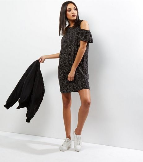 Black Polka Dot Print Cold Shoulder Swing Dress | New Look