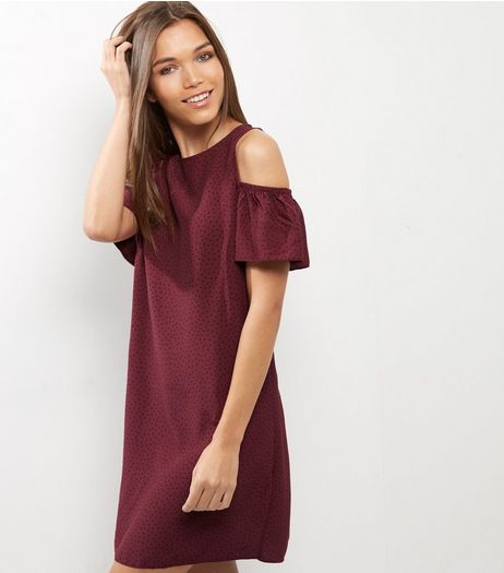 Red Dot Print Frill Trim Cold Shoulder Swing Dress | New Look