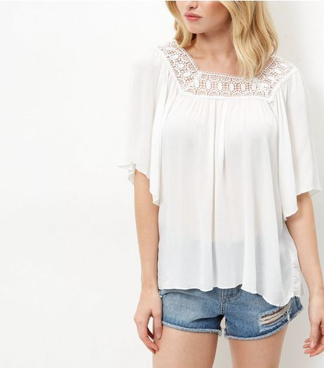 Apricot Cream Crochet Trim Wide Sleeve Top  | New Look