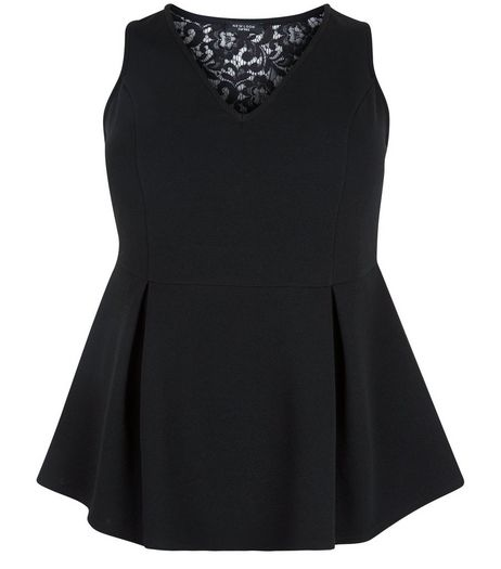 Curves Black Lace Panel Peplum Top | New Look