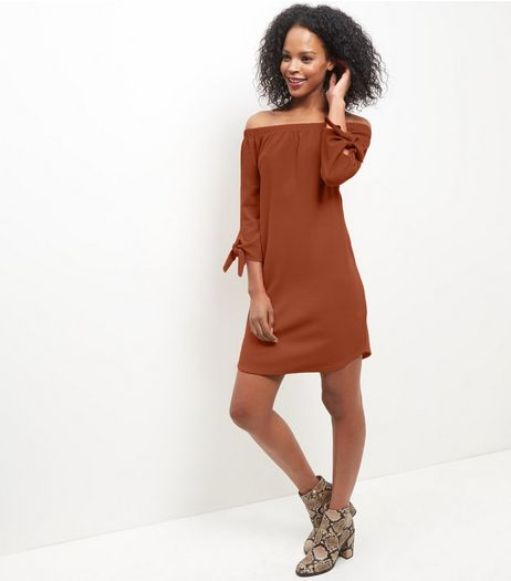 Rust Bardot Neck Tie 3/4 Sleeve Dress  | New Look