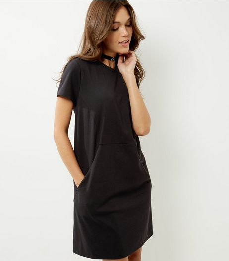 Black Short Sleeve Tunic Dress | New Look
