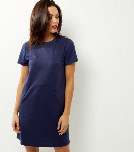 Navy Short Sleeve Tunic Dress | New Look