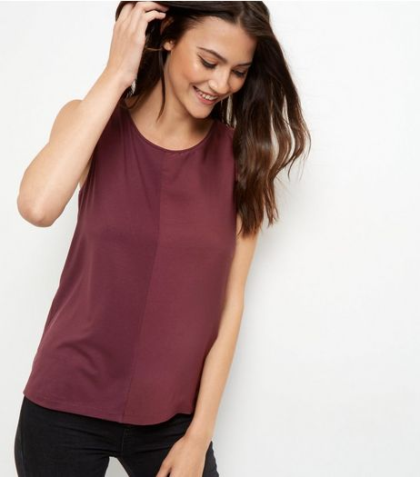 Burgundy Sateen Colour Block Vest | New Look