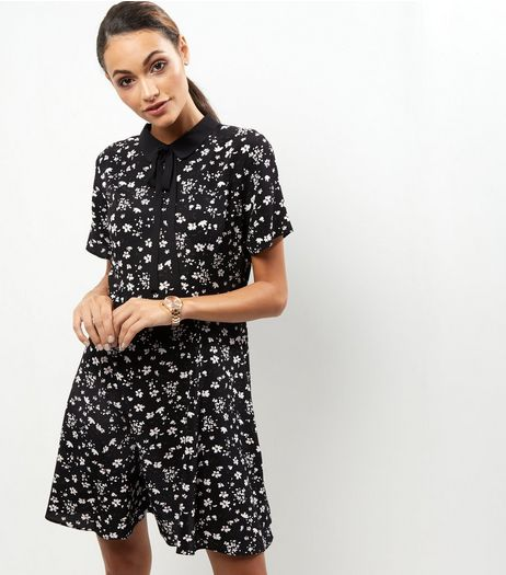 Black Floral Print Short Sleeve Swing Dress | New Look