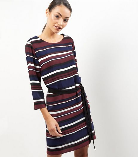 Blue Stripe Long Sleeve Belted Tunic Dress | New Look