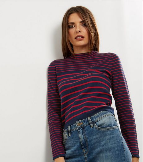 Navy Stripe Funnel Neck Jumper  | New Look