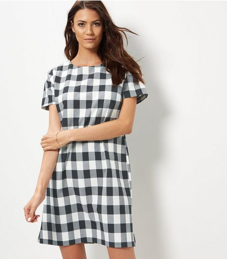 Black Check Tunic Dress | New Look