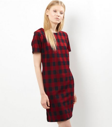 Red Check Tunic Dress | New Look