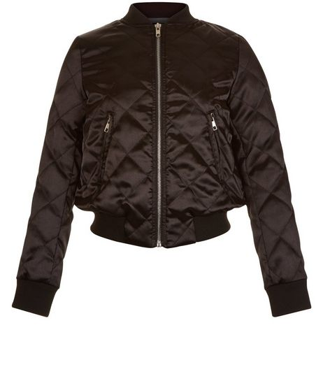 Girls Black Quilted Bomber Jacket | New Look