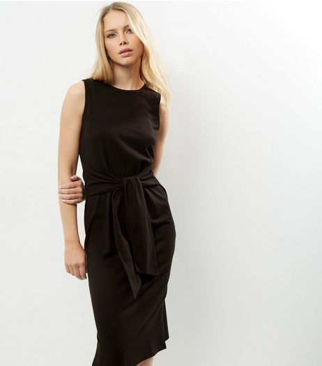 Black Knot Waist Sleeveless Midi Dress | New Look