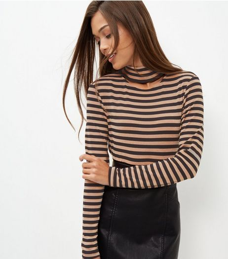 Black Stripe Cut Out Choker Long Sleeve Top  | New Look