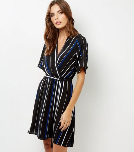Blue Stripe Wrap Front Dress | New Look