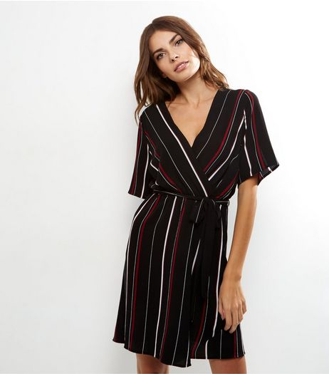Red Stripe Wrap Front Dress | New Look