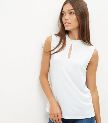 Cream Keyhole Funnel Neck Sleeveless Top  | New Look