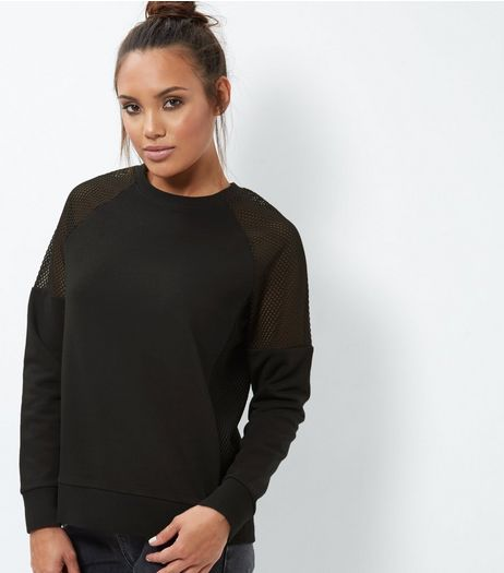 Black Mesh Shoulder Long Sleeve Sweater  | New Look