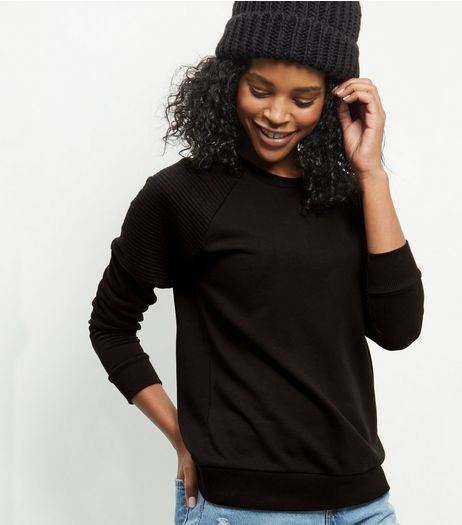 Black Ribbed Shoulder Sweater  | New Look