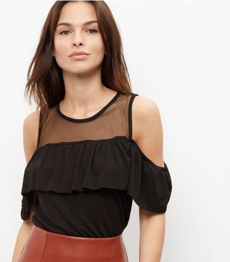 Black Frill Trim Mesh Panel Cold Shoulder T-Shirt  | New Look