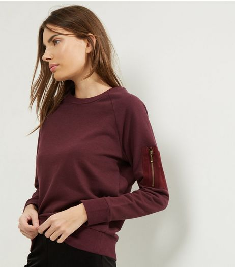 Burgundy Zip Pocket Sleeve Sweater | New Look