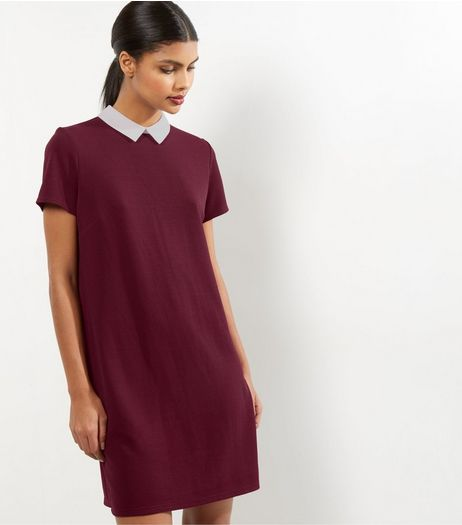 Burgundy Contrast Collar Tunic Dress | New Look