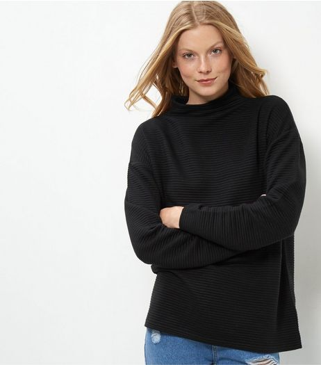 Black Ribbed Turtle Neck Sweater  | New Look
