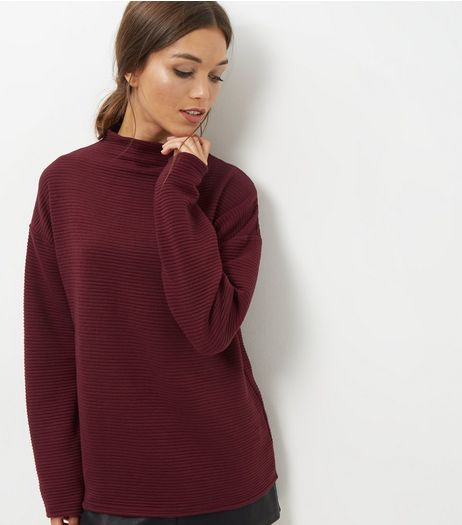 Burgundy Ribbed Funnel Neck Sweater | New Look
