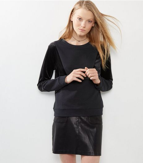 Black Velour Contrast Panel Sweater  | New Look