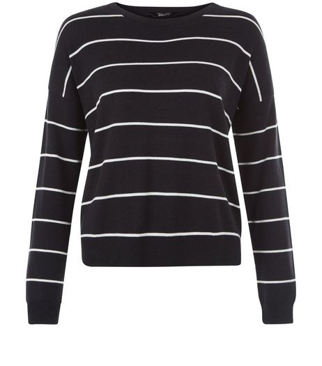 Teens Black Stripe Long Sleeve Jumper  | New Look