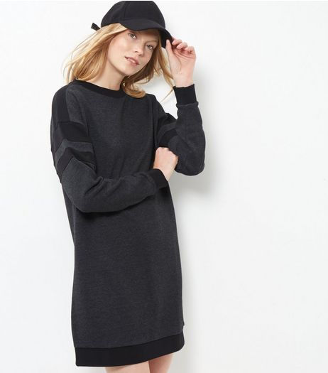 Dark Grey Colour Block Sweater Dress  | New Look